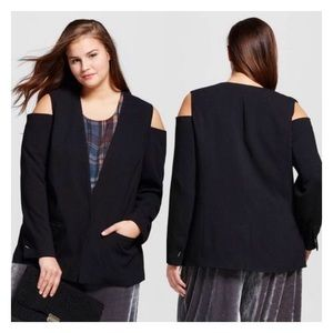 Who What Wear Plus Black Cold Shoulder Blazer 4X